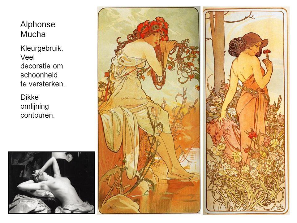 Alphonse Mucha Kleurgebruik. Veel decoratie om schoonheid te versterken. Dikke omlijning contouren.