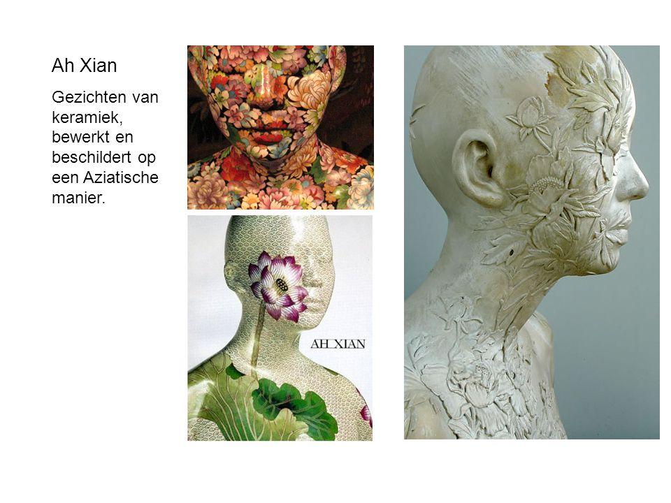 Ah Xian Gezichten van keramiek, bewerkt en beschildert op een Aziatische manier.