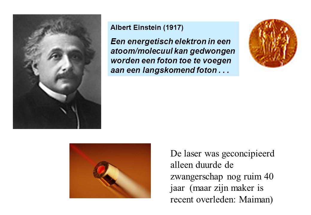 Albert Einstein (1917) Een energetisch elektron in een atoom/molecuul kan gedwongen worden een foton toe te voegen aan een langskomend foton . . .
