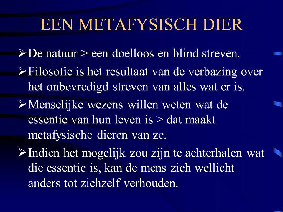 EEN METAFYSISCH DIER De natuur > een doelloos en blind streven.