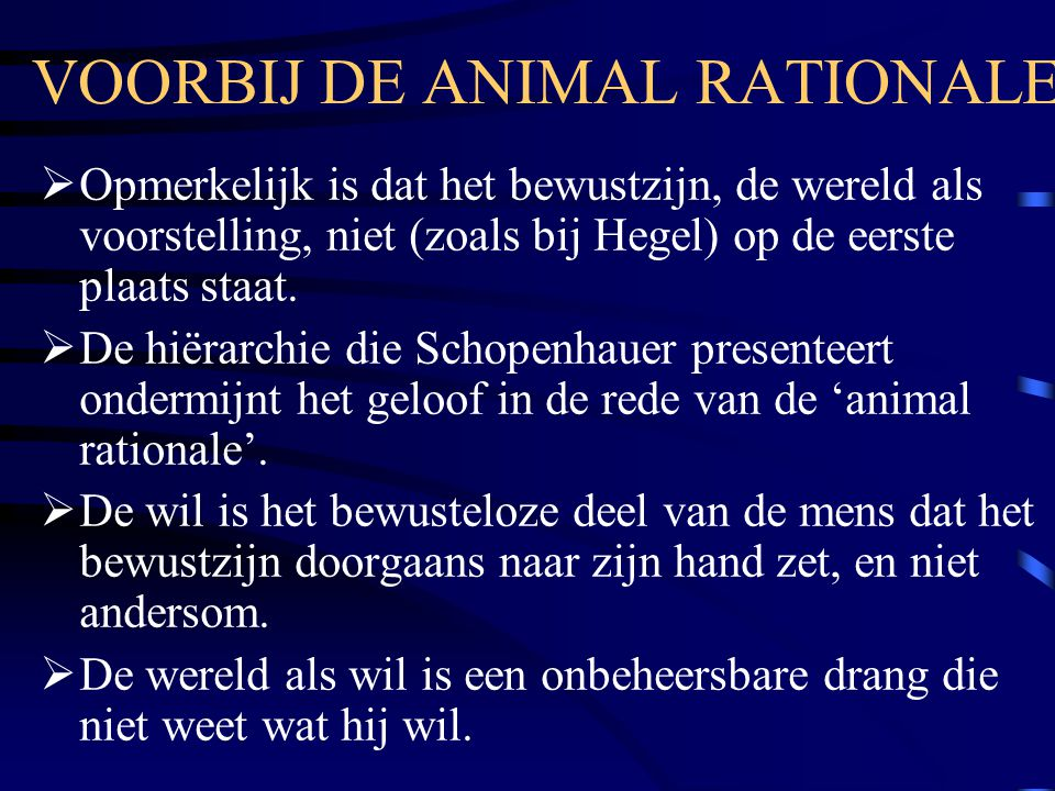 VOORBIJ DE ANIMAL RATIONALE