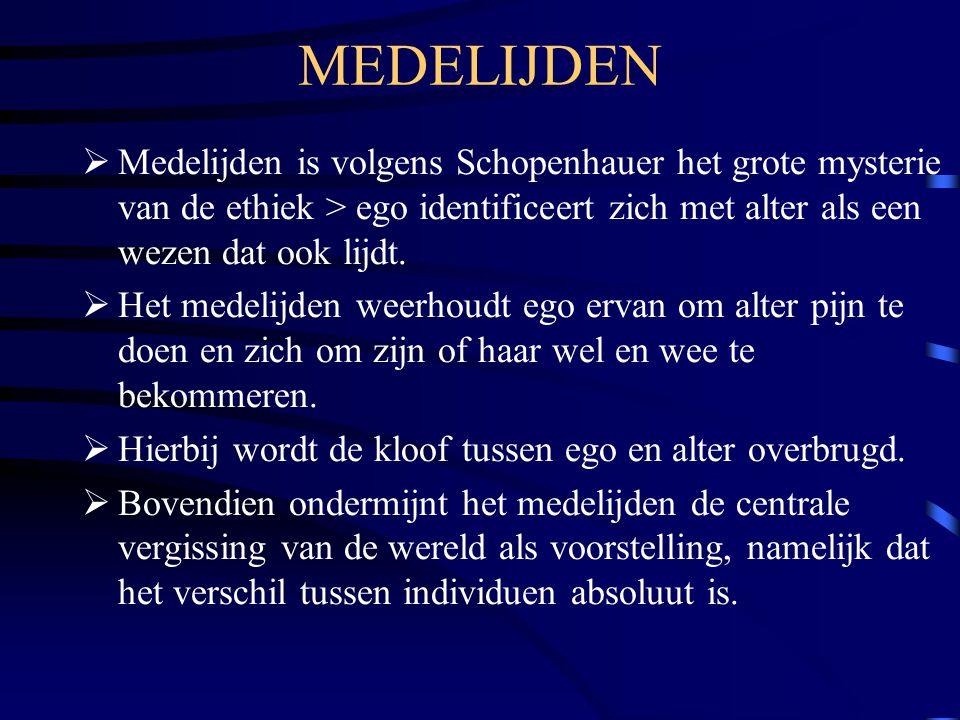 MEDELIJDEN Medelijden is volgens Schopenhauer het grote mysterie van de ethiek > ego identificeert zich met alter als een wezen dat ook lijdt.