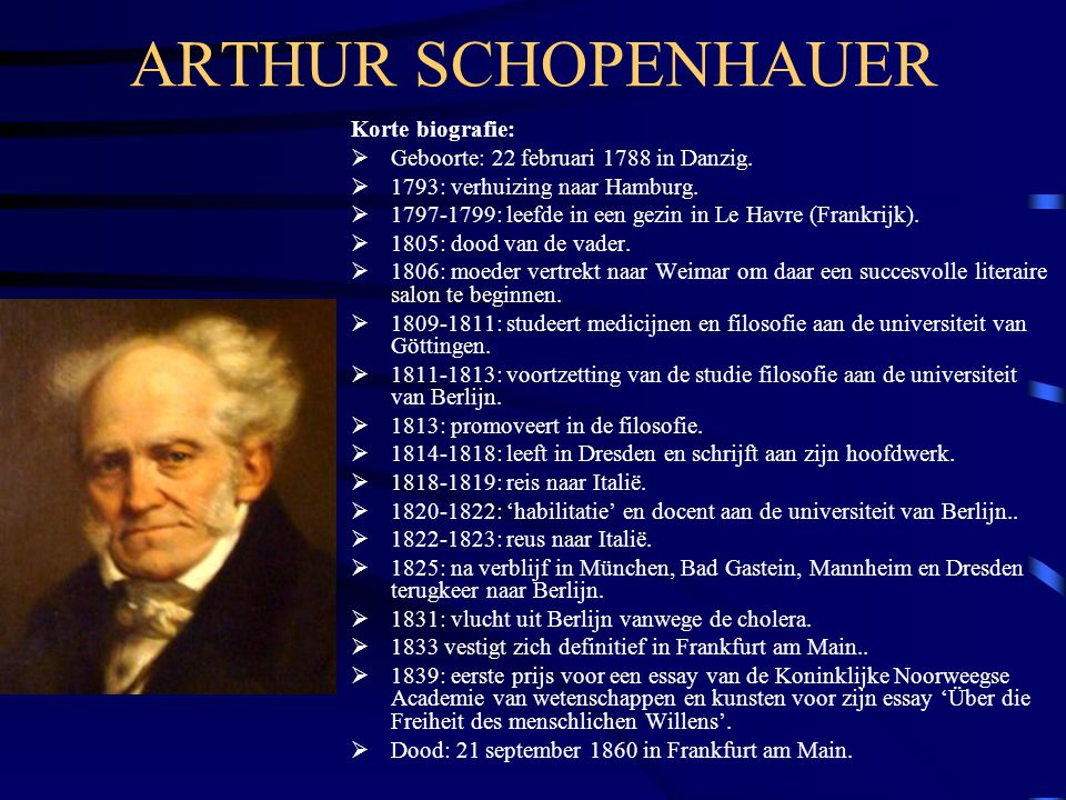 ARTHUR SCHOPENHAUER Korte biografie: