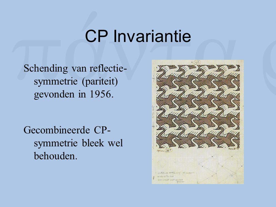 CP Invariantie Schending van reflectie-symmetrie (pariteit) gevonden in 1956.