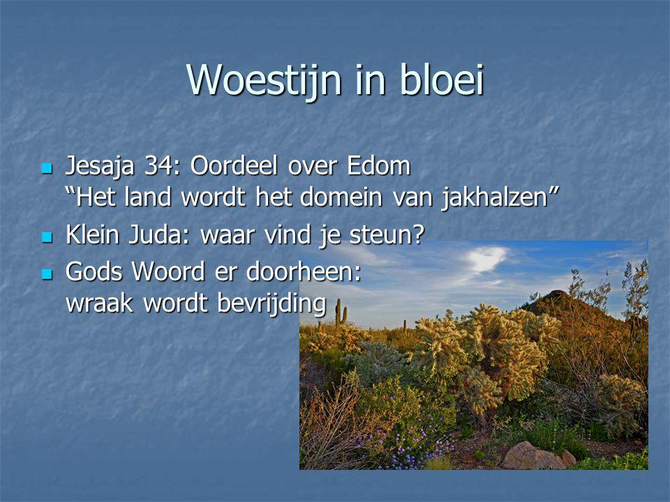 Woestijn in bloei Jesaja 34: Oordeel over Edom Het land wordt het domein van jakhalzen Klein Juda: waar vind je steun