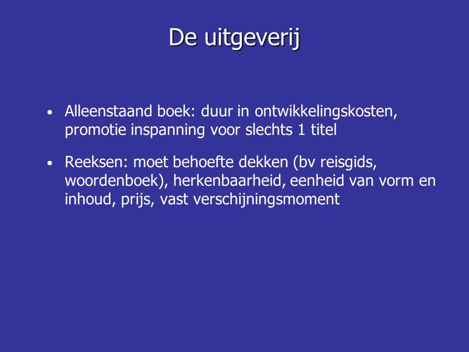 De uitgeverij Alleenstaand boek: duur in ontwikkelingskosten, promotie inspanning voor slechts 1 titel.