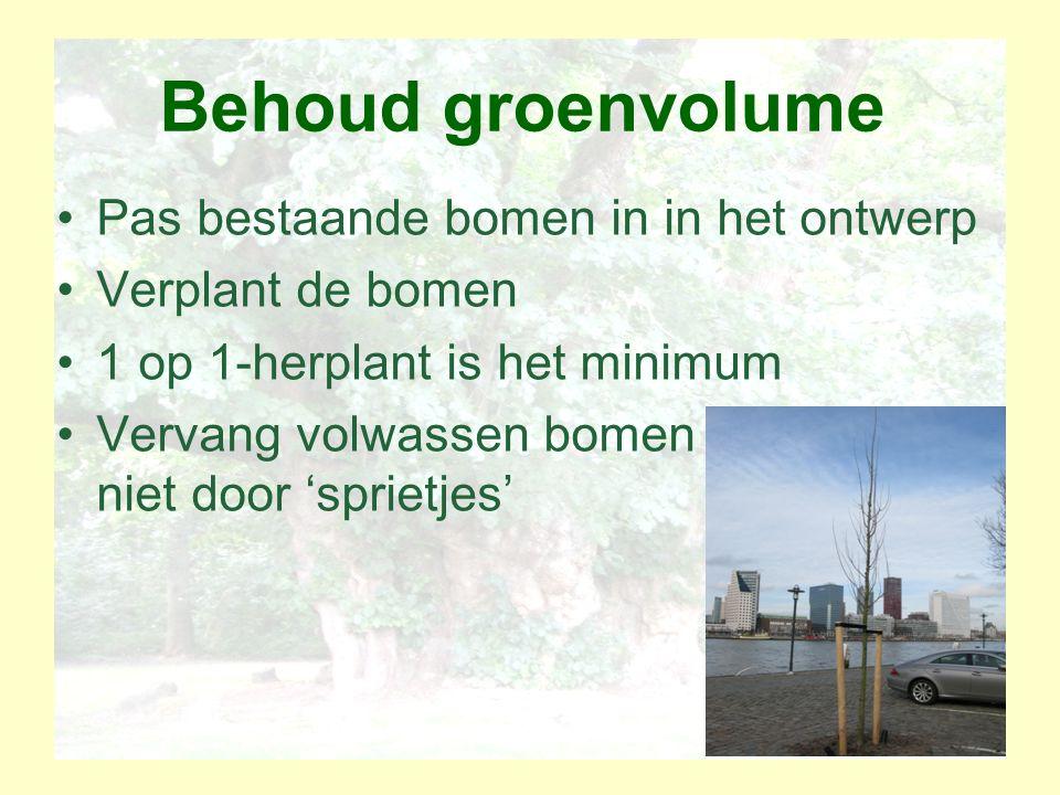 Behoud groenvolume Pas bestaande bomen in in het ontwerp