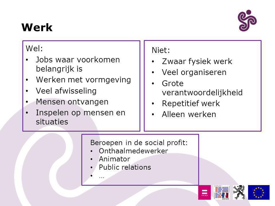 Werk Wel: Niet: Jobs waar voorkomen belangrijk is Zwaar fysiek werk