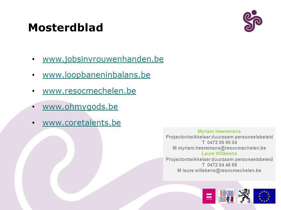 Mosterdblad www.jobsinvrouwenhanden.be www.loopbaneninbalans.be