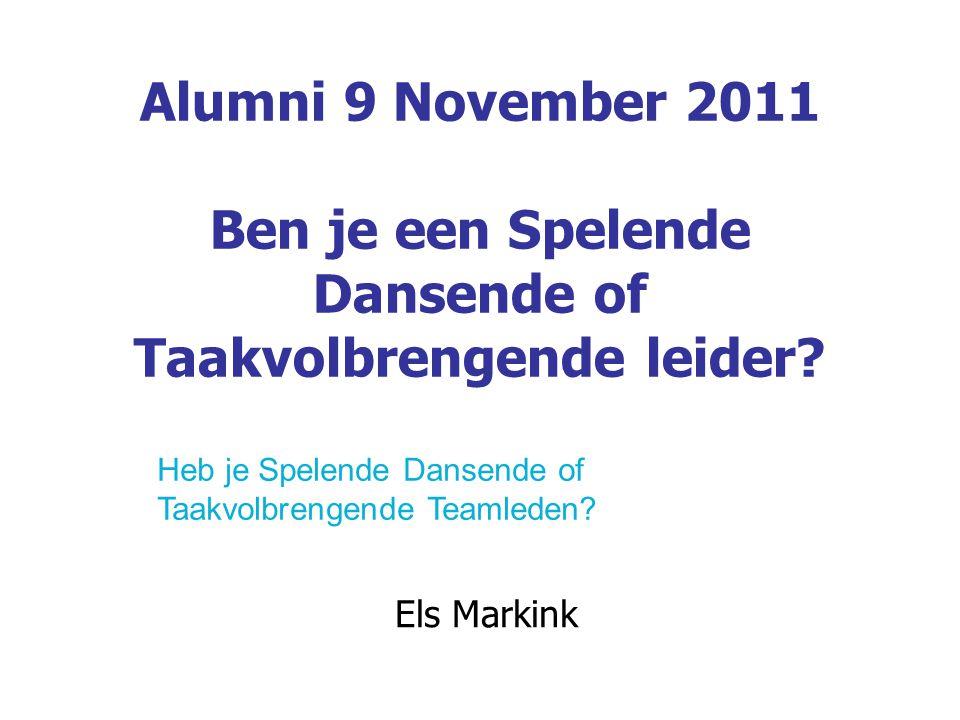 Alumni 9 November 2011 Ben je een Spelende Dansende of Taakvolbrengende leider