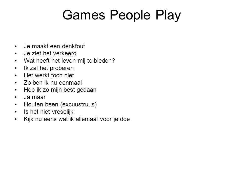 Games People Play Je maakt een denkfout Je ziet het verkeerd