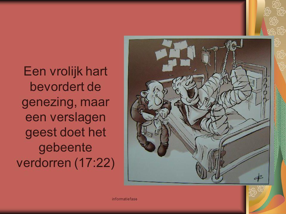 Een vrolijk hart bevordert de genezing, maar een verslagen geest doet het gebeente verdorren (17:22)