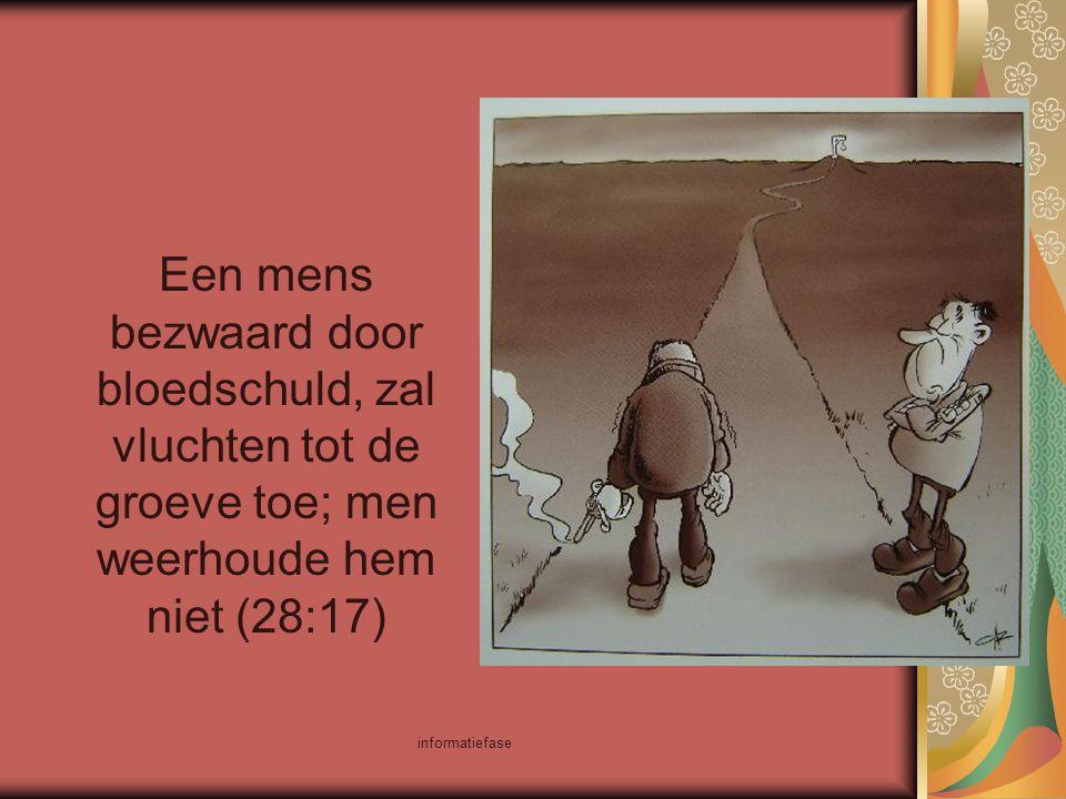 Een mens bezwaard door bloedschuld, zal vluchten tot de groeve toe; men weerhoude hem niet (28:17)