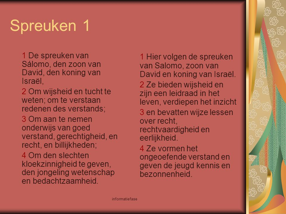 Spreuken 1 1 De spreuken van Sálomo, den zoon van David, den koning van Israël,