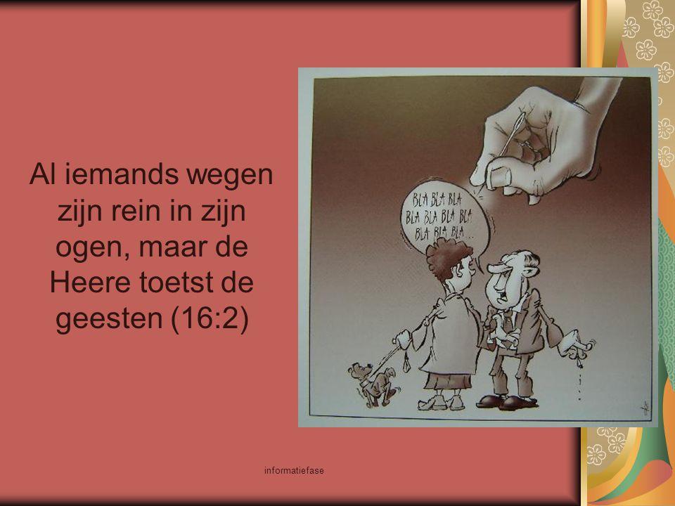Al iemands wegen zijn rein in zijn ogen, maar de Heere toetst de geesten (16:2)