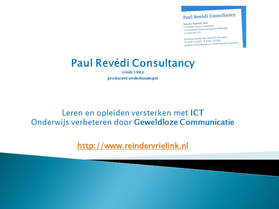 Paul Revédi Consultancy sinds 1983