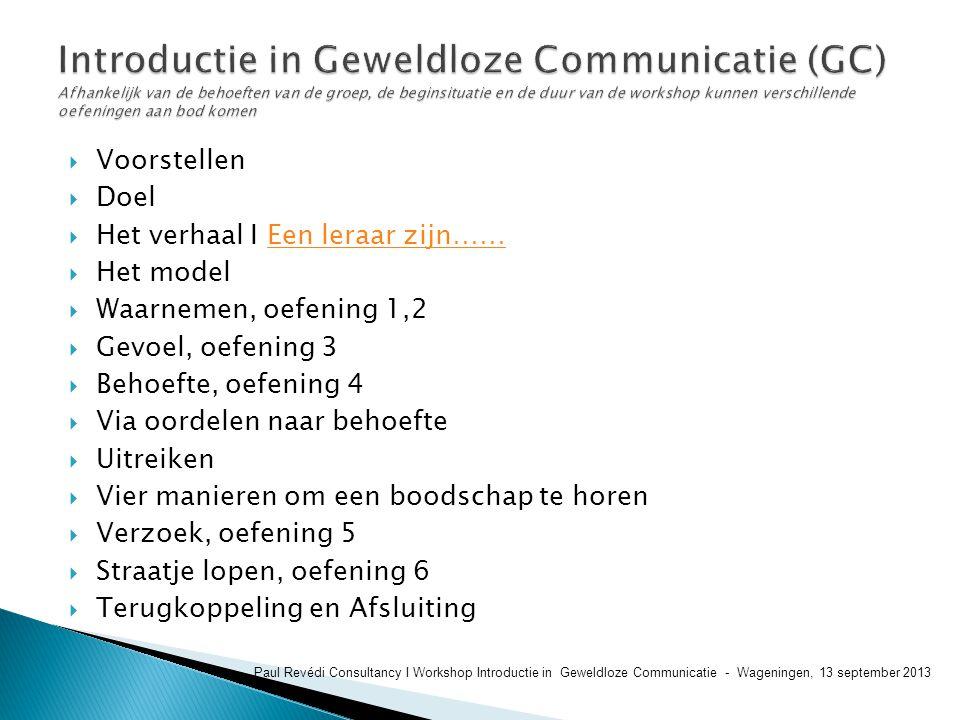 Introductie in Geweldloze Communicatie (GC) Afhankelijk van de behoeften van de groep, de beginsituatie en de duur van de workshop kunnen verschillende oefeningen aan bod komen