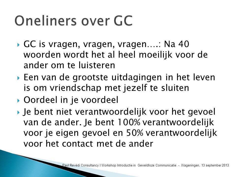 Oneliners over GC GC is vragen, vragen, vragen….: Na 40 woorden wordt het al heel moeilijk voor de ander om te luisteren.