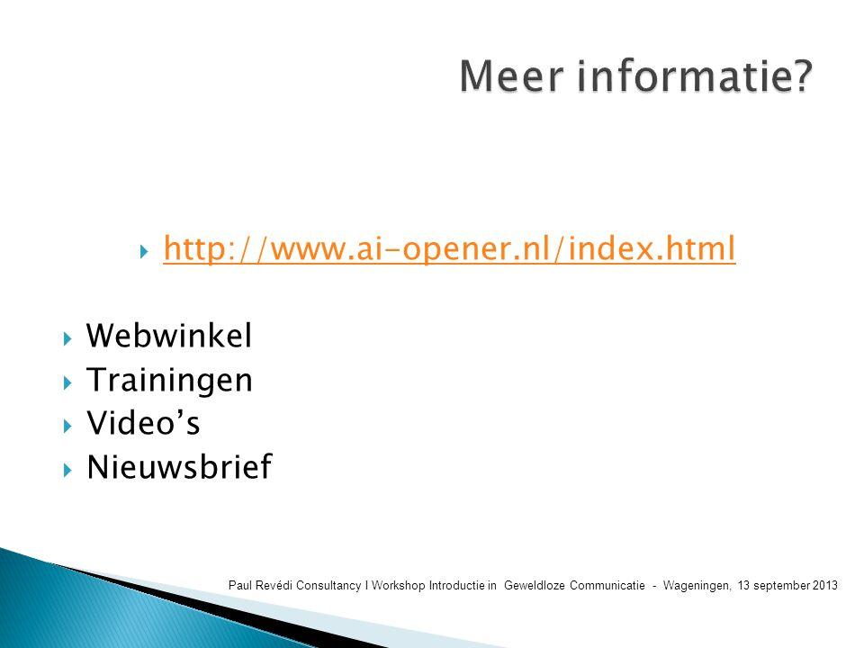 Meer informatie http://www.ai-opener.nl/index.html Webwinkel