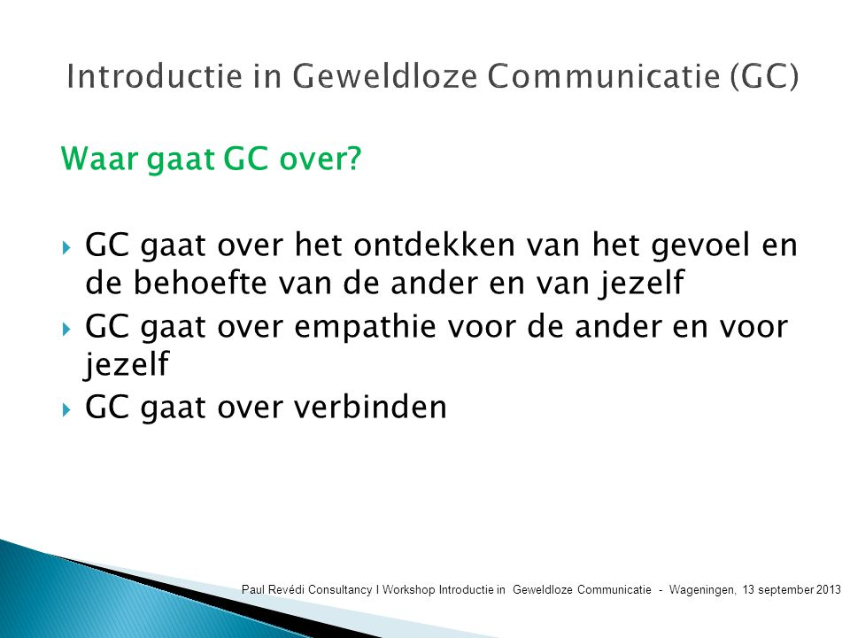 Introductie in Geweldloze Communicatie (GC)