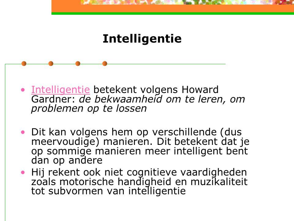 Intelligentie Intelligentie betekent volgens Howard Gardner: de bekwaamheid om te leren, om problemen op te lossen.