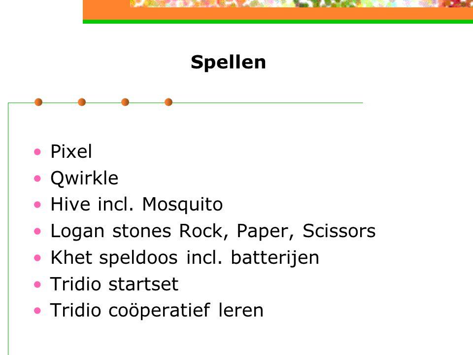 Spellen Pixel. Qwirkle. Hive incl. Mosquito. Logan stones Rock, Paper, Scissors. Khet speldoos incl. batterijen.