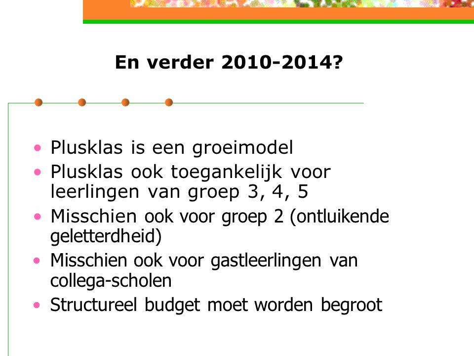En verder 2010-2014 Plusklas is een groeimodel. Plusklas ook toegankelijk voor leerlingen van groep 3, 4, 5.