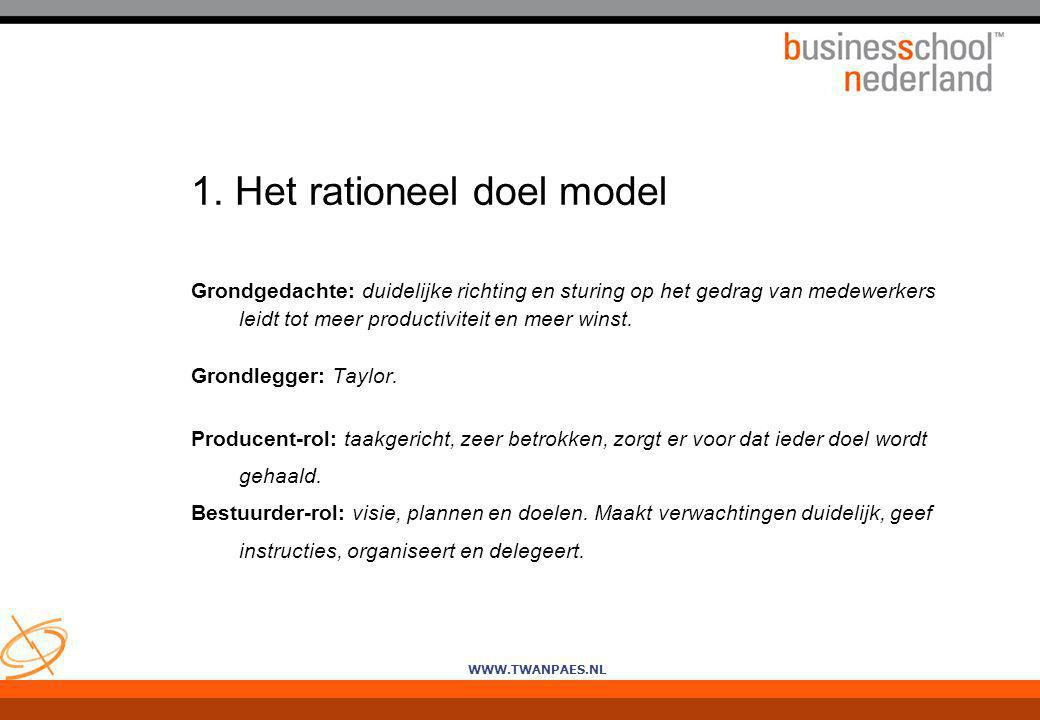 1. Het rationeel doel model