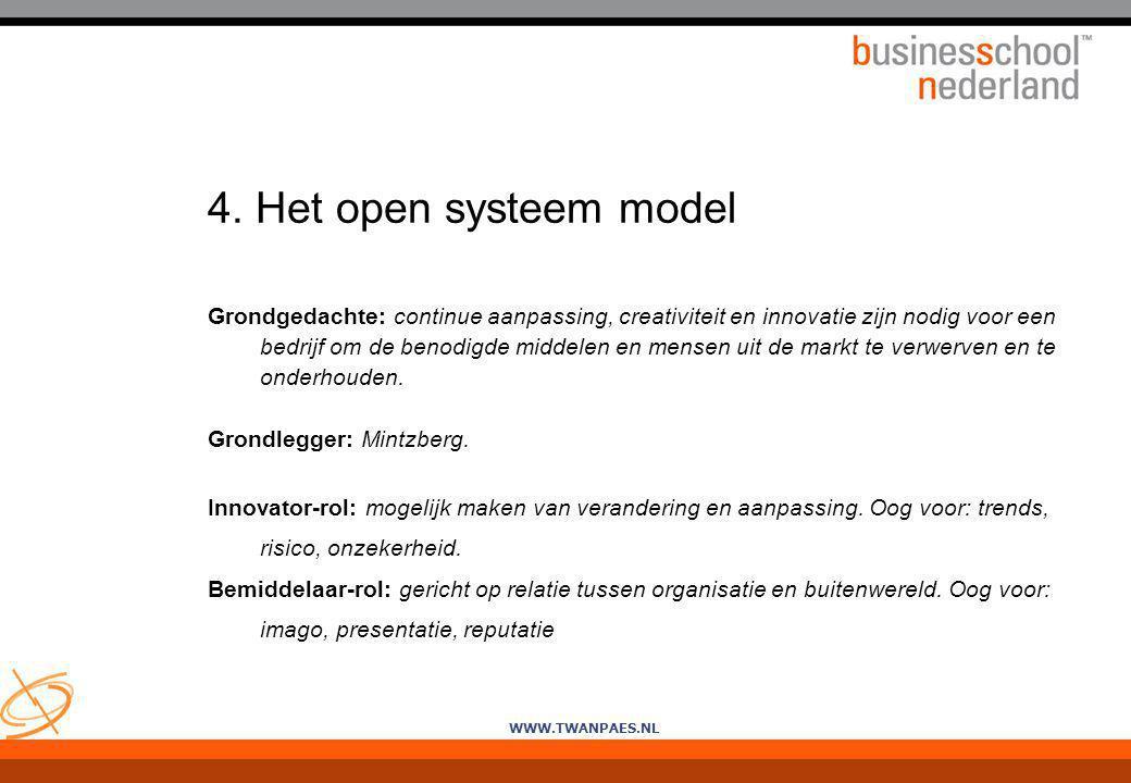 4. Het open systeem model