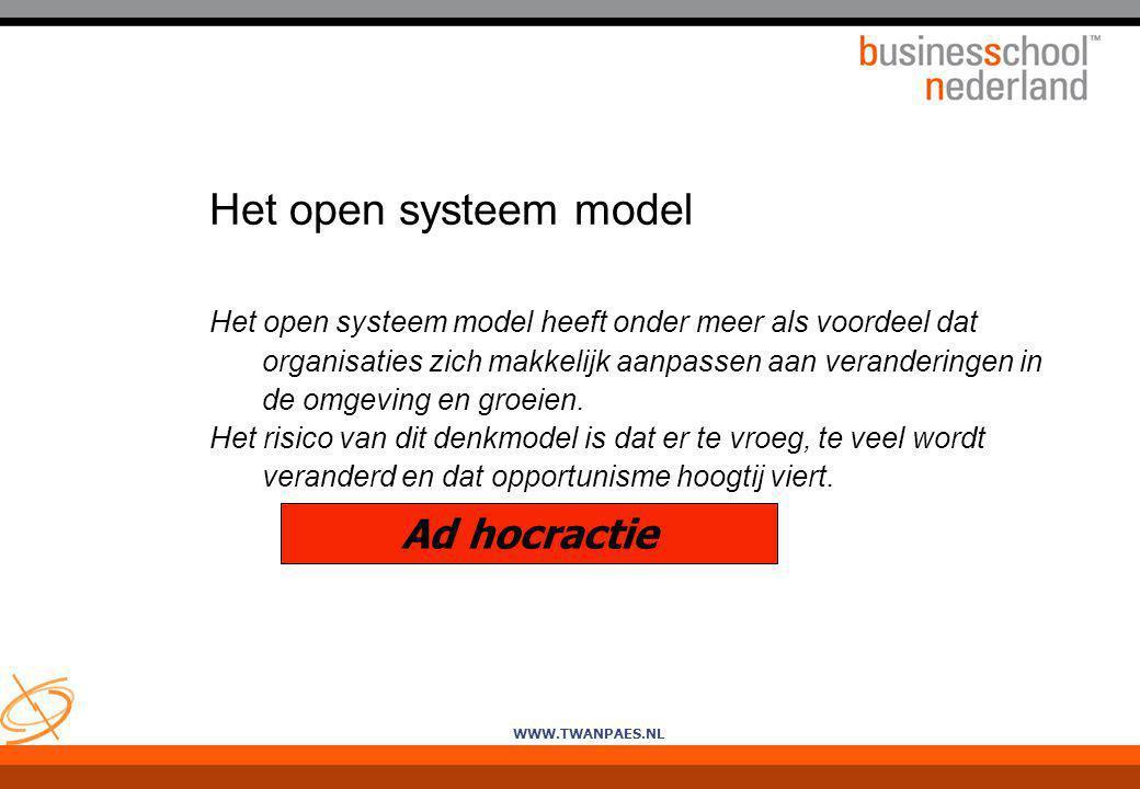 Het open systeem model Ad hocractie