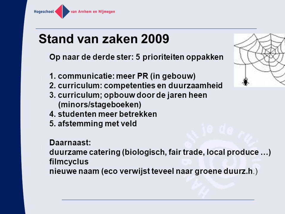 Stand van zaken 2009 1. communicatie: meer PR (in gebouw)