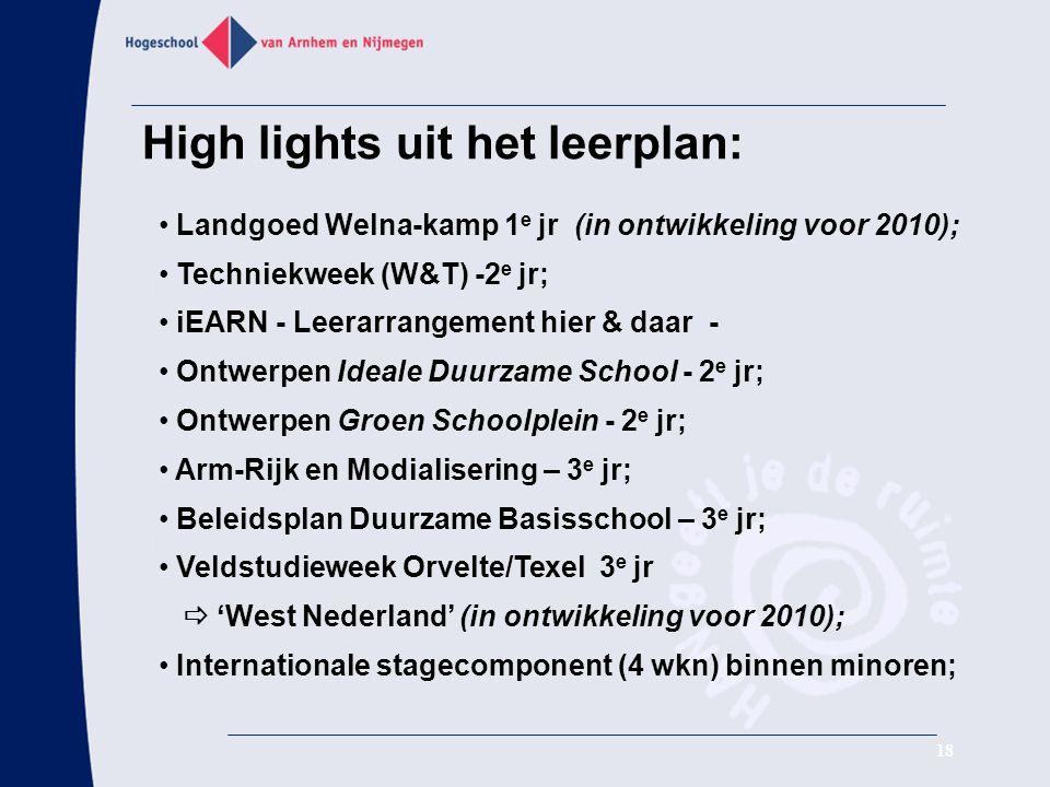 High lights uit het leerplan: