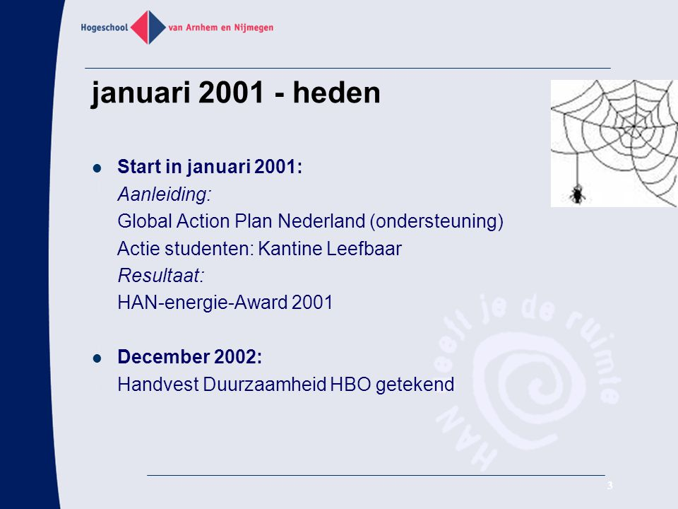 januari heden Start in januari 2001: Aanleiding: