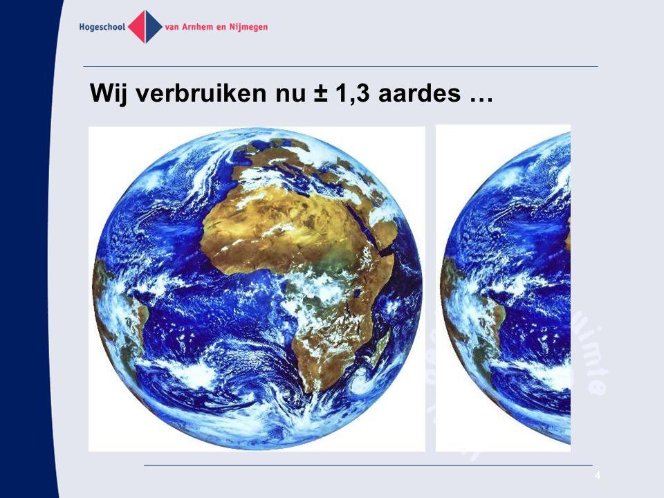 Wij verbruiken nu ± 1,3 aardes …