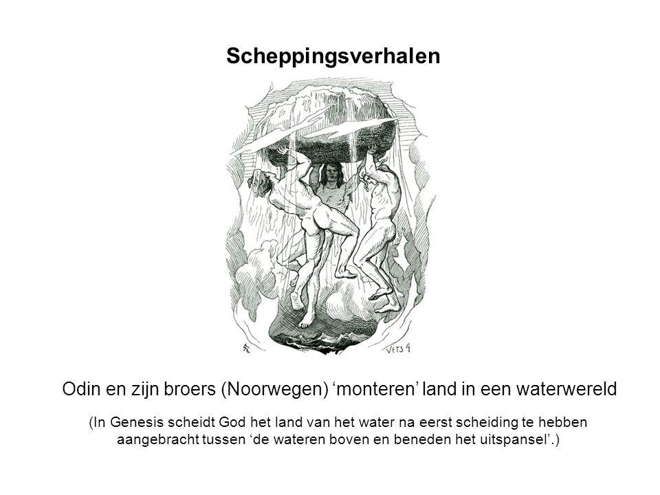 Scheppingsverhalen Odin en zijn broers (Noorwegen) 'monteren' land in een waterwereld.