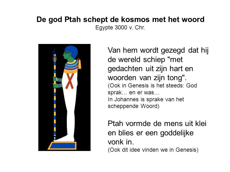De god Ptah schept de kosmos met het woord