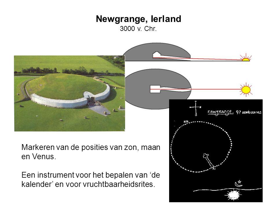 Newgrange, Ierland Markeren van de posities van zon, maan en Venus.