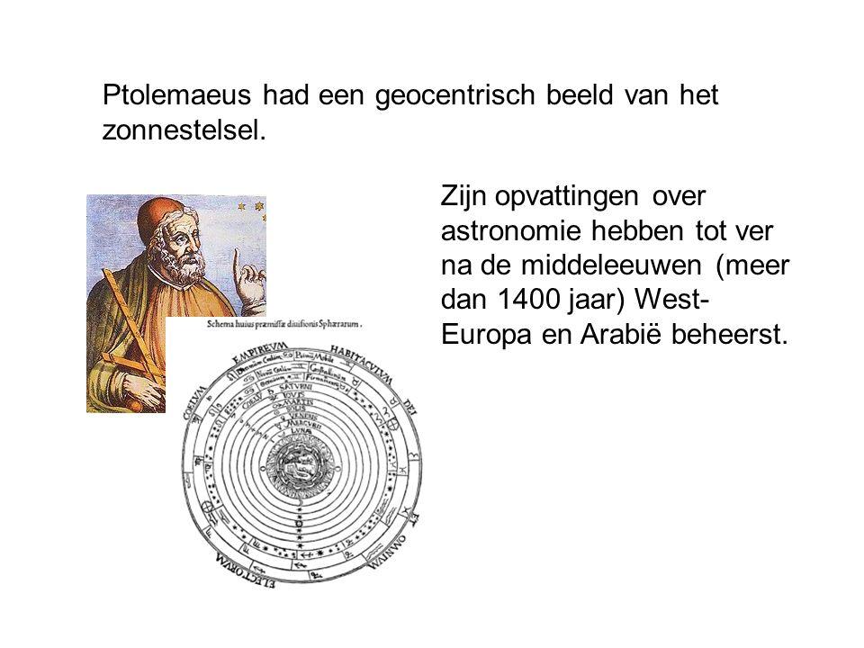 Ptolemaeus had een geocentrisch beeld van het zonnestelsel.