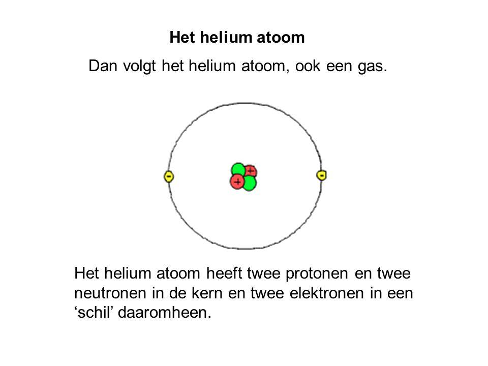 Dan volgt het helium atoom, ook een gas.