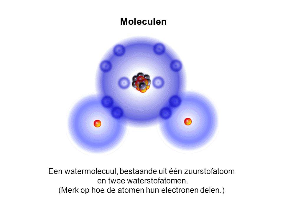 Moleculen Een watermolecuul, bestaande uit één zuurstofatoom