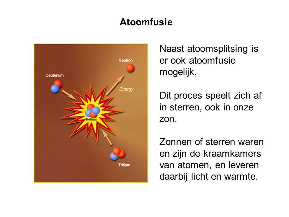 Atoomfusie Naast atoomsplitsing is er ook atoomfusie mogelijk. Dit proces speelt zich af in sterren, ook in onze zon.
