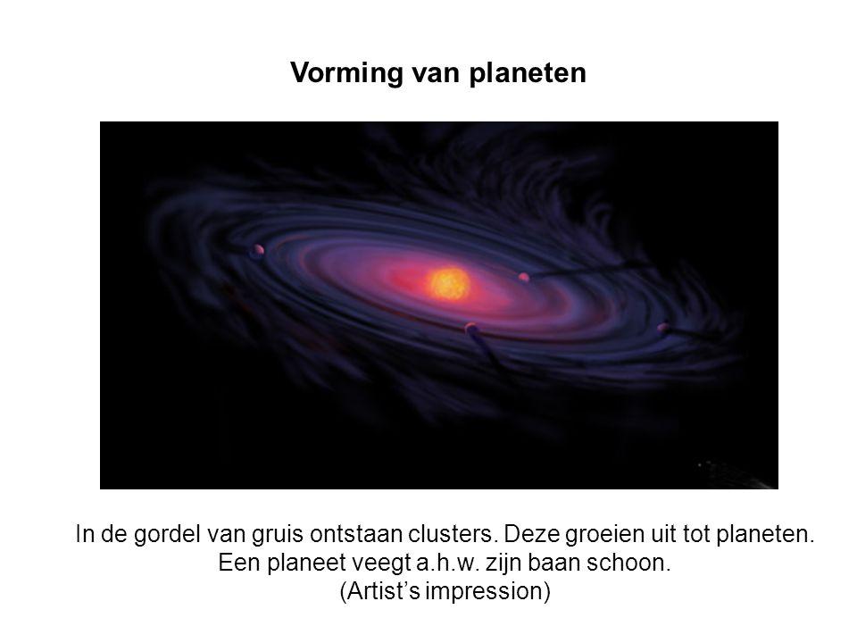Vorming van planeten In de gordel van gruis ontstaan clusters. Deze groeien uit tot planeten. Een planeet veegt a.h.w. zijn baan schoon.