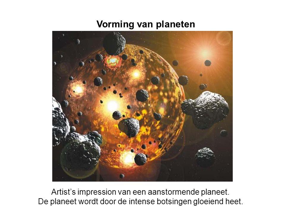 Vorming van planeten Artist's impression van een aanstormende planeet.
