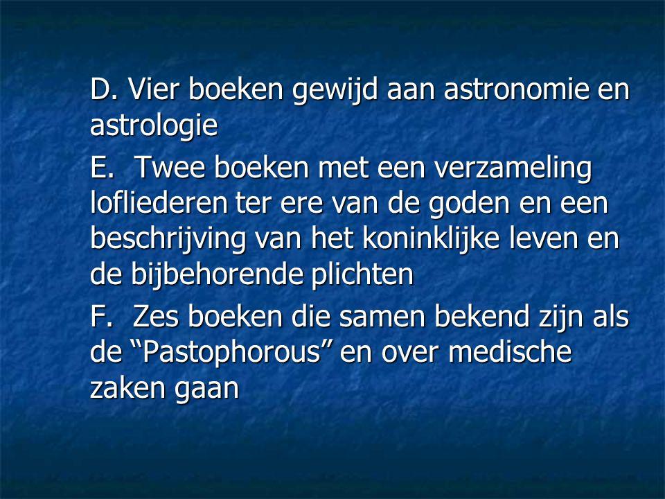 D. Vier boeken gewijd aan astronomie en astrologie