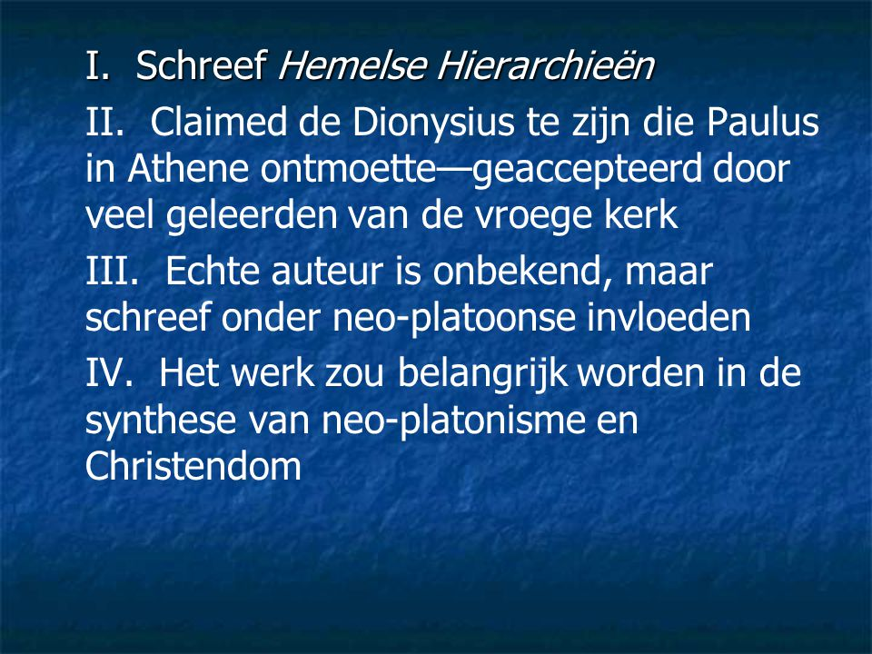 I. Schreef Hemelse Hierarchieën