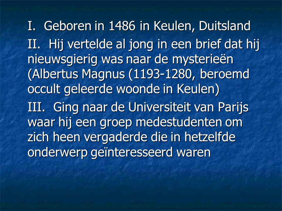 I. Geboren in 1486 in Keulen, Duitsland