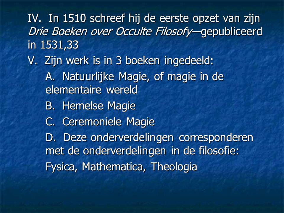 IV. In 1510 schreef hij de eerste opzet van zijn Drie Boeken over Occulte Filosofy—gepubliceerd in 1531,33