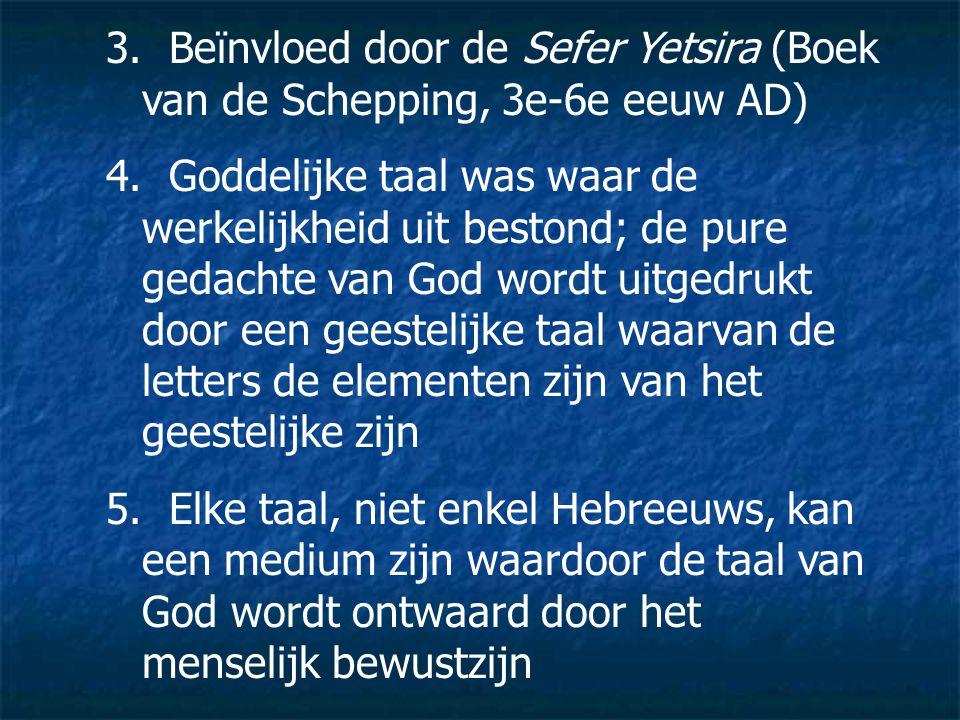 Beïnvloed door de Sefer Yetsira (Boek van de Schepping, 3e-6e eeuw AD)