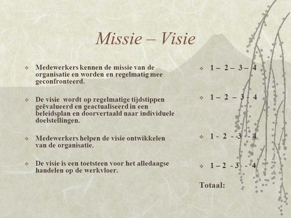 Missie – Visie 1 – 2 – 3 – 4 1 – 2 – 3 - 4 1 - 2 - 3 - 4 1 – 2 - 3 - 4