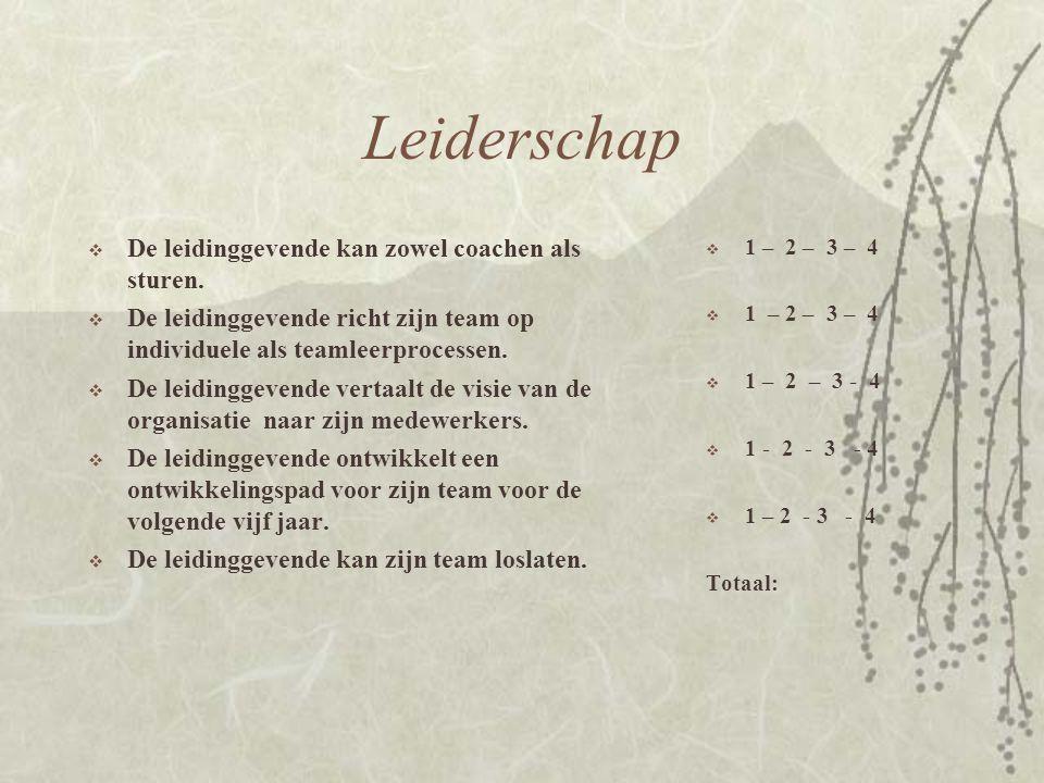 Leiderschap De leidinggevende kan zowel coachen als sturen.